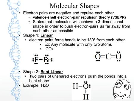 Molecular Shapes Electron pairs are negative and repulse each other. valence-shell electron-pair repulsion theory (VSEPR) States that molecules will achieve.