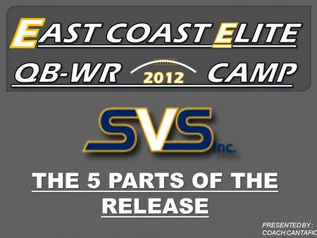 THE 5 PARTS OF THE RELEASE PRESENTED BY : COACH CANTAFIO.