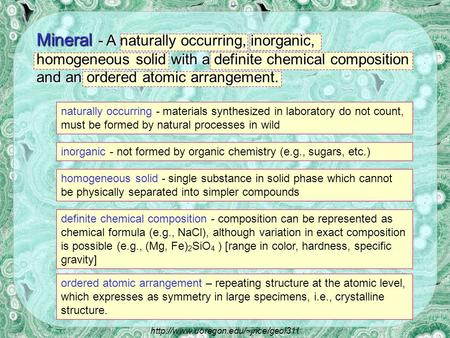 naturally occurring - materials synthesized in laboratory do not count, must be formed by natural processes in wild inorganic - not formed by organic.