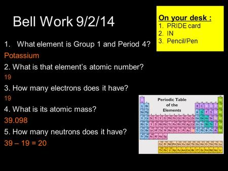 Bell Work 9/2/14 1 1.What element is Group 1 and Period 4? Potassium 2. What is that element's atomic number? 19 3. How many electrons does it have? 19.