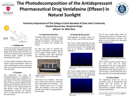 The Photodecomposition of the Antidepressant Pharmaceutical Drug Venlafaxine (Effexor) in Natural Sunlight Chemistry Department of The College of Saint.