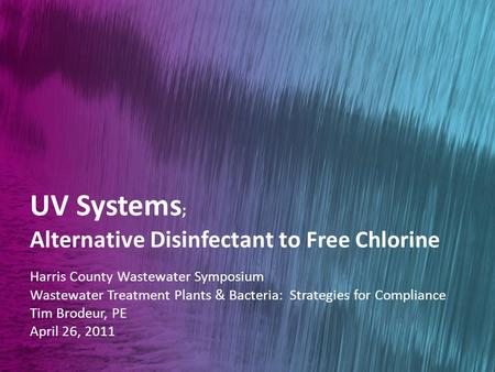 innovation in water treatment ppt uv systems alternative disinfectant to chlorine