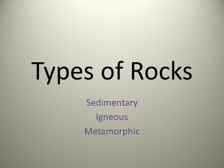 Types of Rocks Sedimentary Igneous Metamorphic. Sedimentary Rock Write the term and what you believe it to mean.