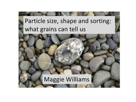 Maggie Williams Particle size, shape and sorting: what grains can tell us.