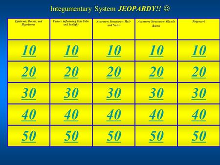 Integumentary System JEOPARDY!! Epidermis, Dermis, and Hypodermis Factors influencing Skin Color and Sunlight Accessory Structures- Hair and Nails Accessory.
