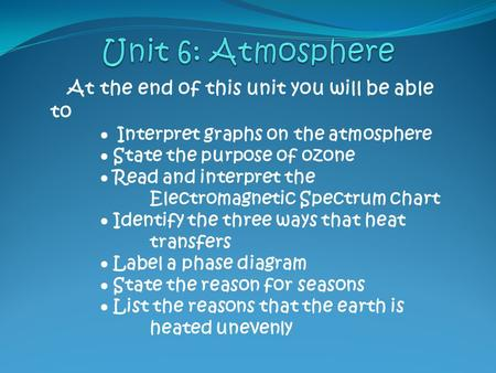 At the end of this unit you will be able to  Interpret graphs on the atmosphere  State the purpose of ozone  Read and interpret the Electromagnetic.