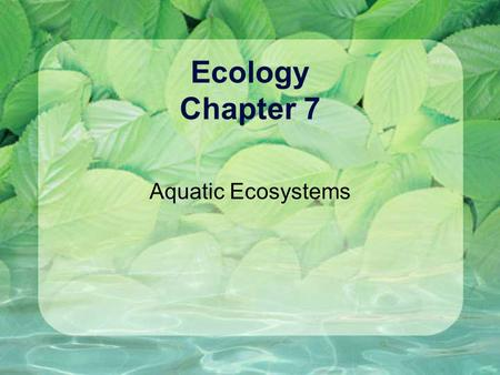 Ecology Chapter 7 Aquatic Ecosystems. Standard 5 - Biomes Examine the major freshwater and marine ecosystems {CLE 3255.5.3,.4,.5} Obj: Describe the factors.