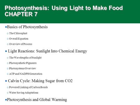 Photosynthesis: Using Light to Make Food CHAPTER 7  Basics of Photosynthesis o The Chloroplast o Overall Equation o Overview of Process  Light Reactions: