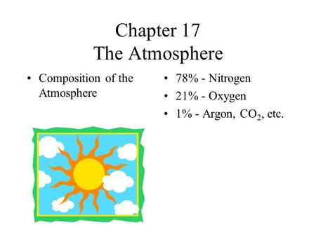 Chapter 17 The Atmosphere Composition of the Atmosphere 78% - Nitrogen 21% - Oxygen 1% - Argon, CO 2, etc.