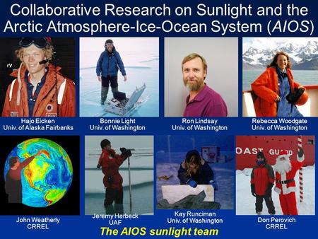 Collaborative Research on Sunlight and the Arctic Atmosphere-Ice-Ocean System (AIOS) Hajo Eicken Univ. of Alaska Fairbanks Ron Lindsay Univ. of Washington.