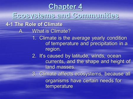 Chapter 4 Ecosystems and Communities