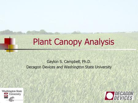 Plant Canopy Analysis Gaylon S. Campbell, Ph.D. Decagon Devices and Washington State University.