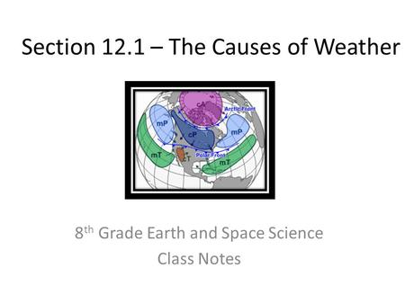 Section 12.1 – The Causes of Weather