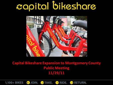 Capital Bikeshare Expansion to Montgomery County Public Meeting 11/29/11.