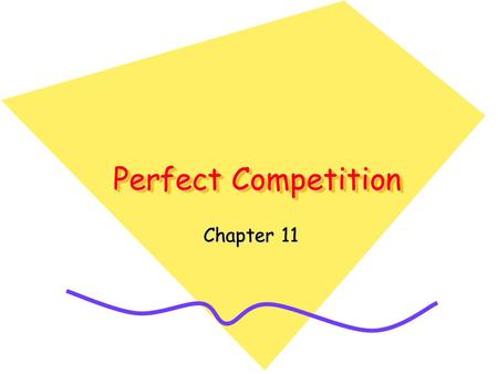 Perfect Competition Chapter 11. Perfect Competition The concept of competition is used in two ways in economics. –Competition as a process is a rivalry.
