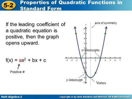 Holt Algebra 2 5-2 Properties of Quadratic Functions in Standard Form axis of symmetry If the leading coefficient of a quadratic equation is positive,