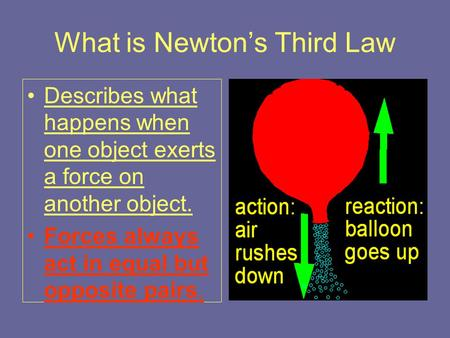 What is Newton's Third Law Describes what happens when one object exerts a force on another object. Forces always act in equal but opposite pairs.