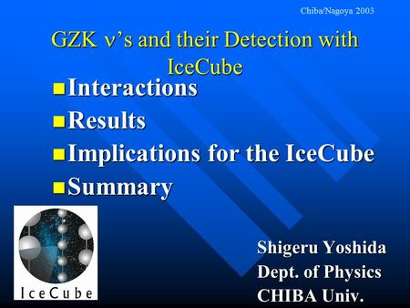 GZK 's and their Detection with IceCube Interactions Interactions Results Results Implications for the IceCube Implications for the IceCube Summary Summary.