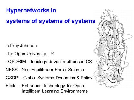Hypernetworks in systems of systems of systems Jeffrey Johnson The Open University, UK TOPDRIM - Topology-driven methods in CS NESS - Non-Equilibrium Social.