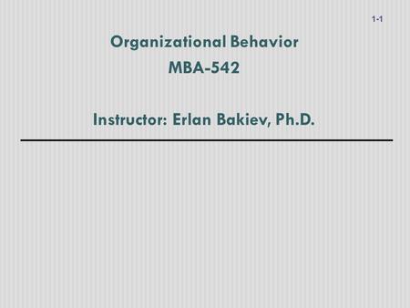 Globalization and Organizational Behavior