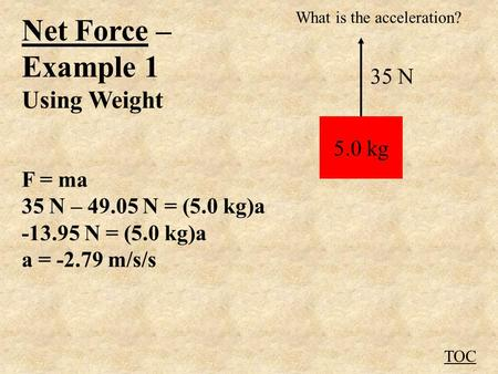 Net Force – Example 1 Using Weight F = ma 35 N – 49.05 N = (5.0 kg)a -13.95 N = (5.0 kg)a a = -2.79 m/s/s TOC 5.0 kg 35 N What is the acceleration?