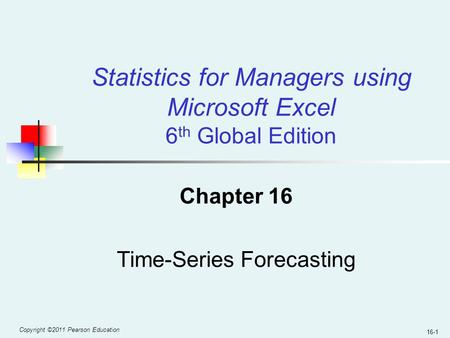 Chapter 16 Time-Series Forecasting