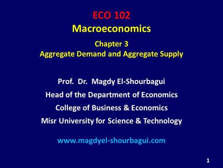 ECO 102 Macroeconomics Chapter 3 Aggregate Demand and Aggregate Supply Prof. Dr. Magdy El-Shourbagui Head of the Department of Economics College of Business.