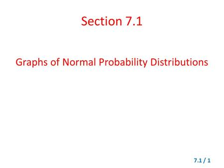 Graphs of Normal Probability Distributions