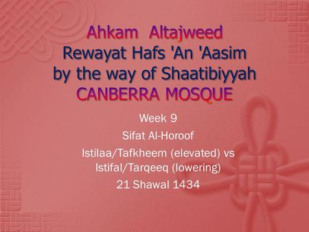 Istilaa/Tafkheem (elevated) vs Istifal/Tarqeeq (lowering)