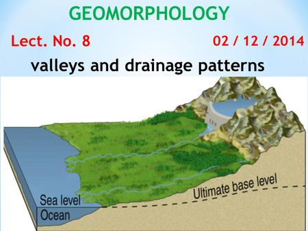 GEOMORPHOLOGY Lect. No. 8 02 / 12 / 2014 valleys and drainage patterns.