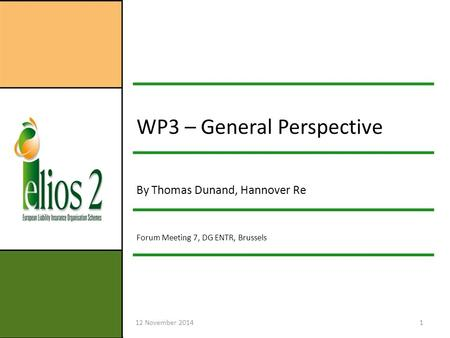 12 November 20141 WP3 – General Perspective By Thomas Dunand, Hannover Re Forum Meeting 7, DG ENTR, Brussels.