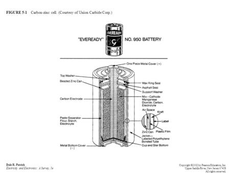FIGURE 5-1 Carbon-zinc cell. (Courtesy of Union Carbide Corp.) Dale R. Patrick Electricity and Electronics: A Survey, 5e Copyright ©2002 by Pearson Education,