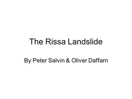 The Rissa Landslide By Peter Salvin & Oliver Daffarn.