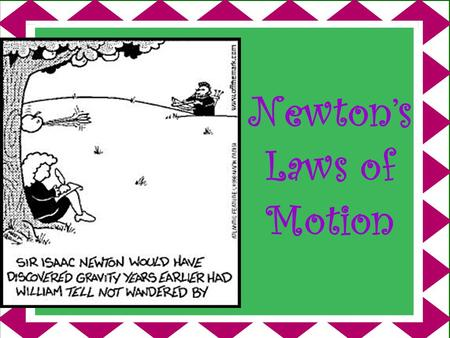 Newton's Laws of Motion Newton's 1 st Law of Motion An object in motion tends to stay in motion and an object at rest tends to stay at rest, unless the.