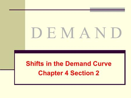 Shifts in the Demand Curve Chapter 4 Section 2