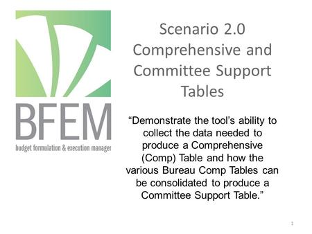 "Scenario 2.0 Comprehensive and Committee Support Tables ""Demonstrate the tool's ability to collect the data needed to produce a Comprehensive (Comp) Table."
