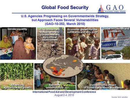 Source: GAO (photos) International Food Aid and Development Conference August 2-4. 2010 Global Food Security U.S. Agencies Progressing on Governmentwide.