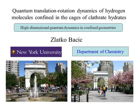 Quantum translation-rotation dynamics of hydrogen molecules confined in the cages of clathrate hydrates Zlatko Bacic High-dimensional quantum dynamics.