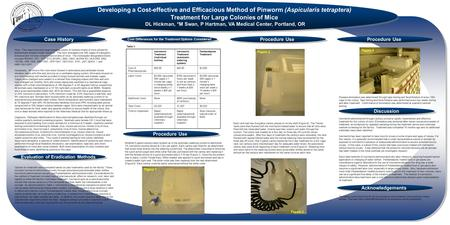 Procedure Use Acknowledgements Discussion Developing a Cost-effective and Efficacious Method of Pinworm (Aspicularis tetraptera) Treatment for Large Colonies.
