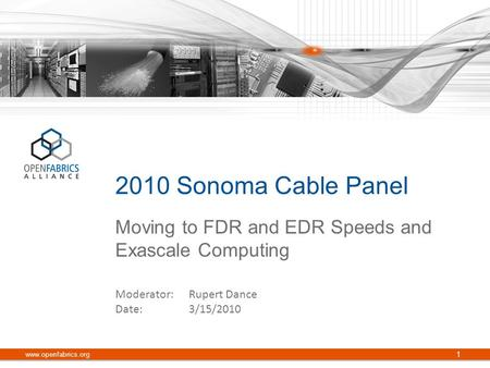 Moving to FDR and EDR Speeds and Exascale Computing