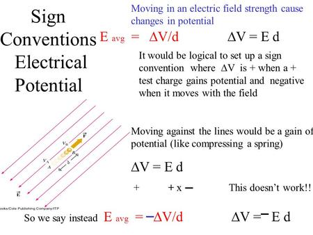 Sign Conventions Electrical Potential E avg =  V/d  V = E d It would be logical to set up a sign convention where  V is + when a + test charge gains.