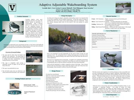 Adaptive Adjustable Wakeboarding System Lorielle Alter 1, Cory Gerken 2, Lauren Mitchell 3, Nick Pilkington 2, Katy Serowka 1 Advisors: Dr. Paul King 1,