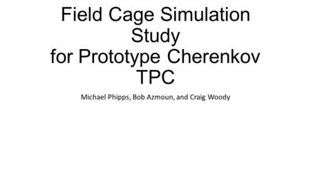 Field Cage Simulation Study for Prototype Cherenkov TPC Michael Phipps, Bob Azmoun, and Craig Woody.