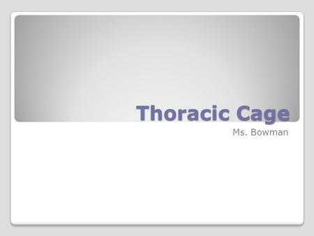 Thoracic Cage Ms. Bowman.