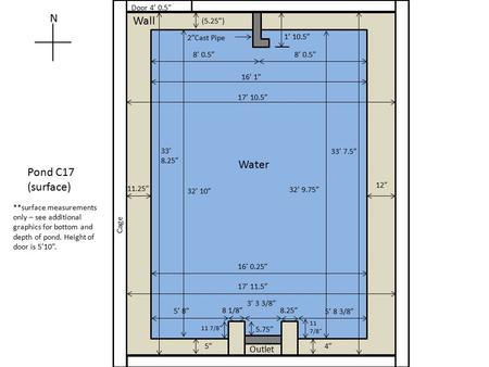 "Wall N Pond C17 (surface) Outlet 2""Cast Pipe **surface measurements only – see additional graphics for bottom and depth of pond. Height of door is 5'10""."