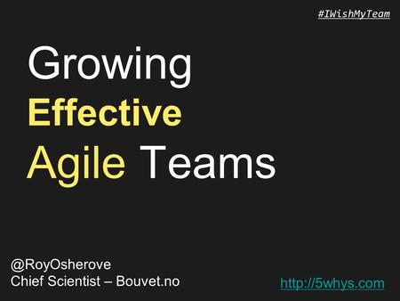 #IWishMyTeam Growing Effective Agile Chief Scientist – Bouvet.no.