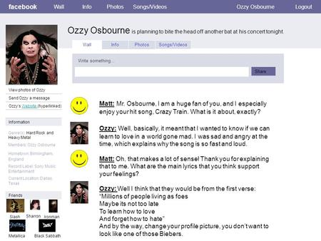 Facebook Ozzy Osbourne is planning to bite the head off another bat at his concert tonight. WallInfoPhotosSongs/VideosOzzy OsbourneLogout View photos of.