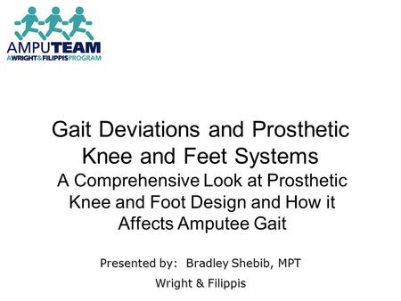 Gait Deviations and Prosthetic Knee and Feet Systems A Comprehensive Look at Prosthetic Knee and Foot Design and How it Affects Amputee Gait Presented.