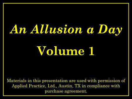An Allusion a Day Volume 1