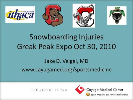Snowboarding Injuries Greak Peak Expo Oct 30, 2010 Jake D. Veigel, MD www.cayugamed.org/sportsmedicine.
